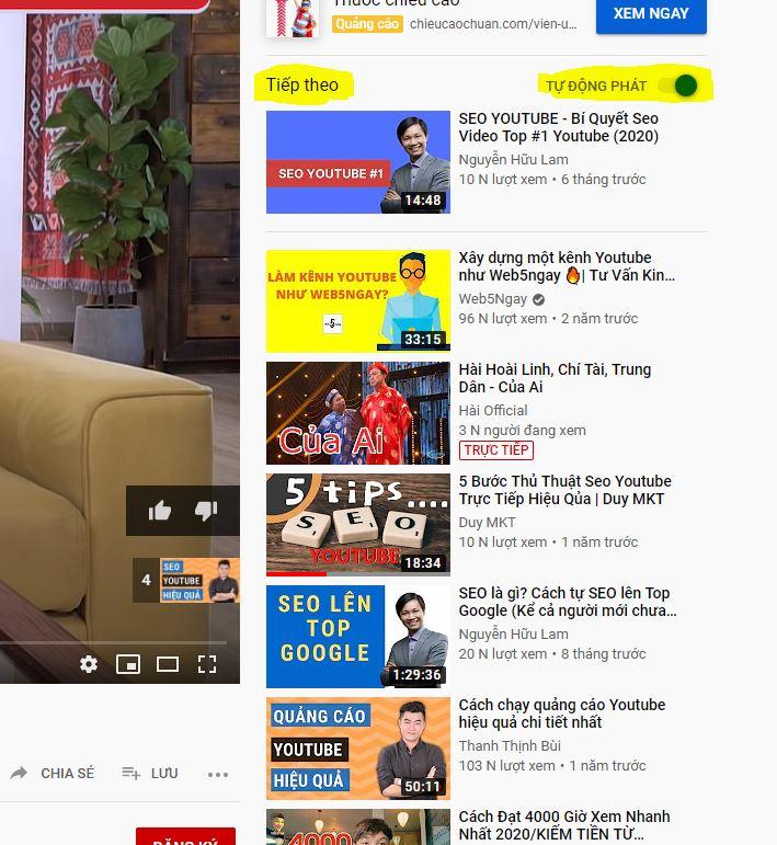 seo youtube nhận đề xuất